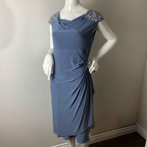Formal Dress Beaded Boat Neck greyish Blue 8